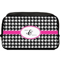 Houndstooth w/Pink Accent Toiletry Bag / Dopp Kit (Personalized)