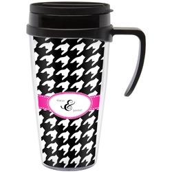 Houndstooth w/Pink Accent Travel Mug with Handle (Personalized)
