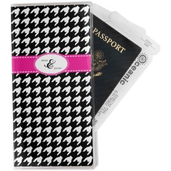 Houndstooth w/Pink Accent Travel Document Holder