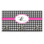Houndstooth w/Pink Accent Wall Mounted Coat Rack (Personalized)