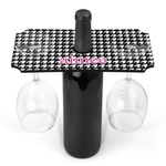 Houndstooth w/Pink Accent Wine Bottle & Glass Holder (Personalized)