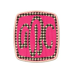 Houndstooth w/Pink Accent Genuine Maple or Cherry Wood Sticker (Personalized)