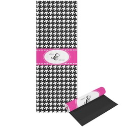 Houndstooth w/Pink Accent Yoga Mat - Printable Front and Back (Personalized)