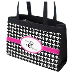Houndstooth w/Pink Accent Zippered Everyday Tote w/ Couple's Names