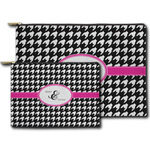 Houndstooth w/Pink Accent Zipper Pouch (Personalized)