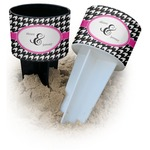 Houndstooth w/Pink Accent Beach Spiker Drink Holder (Personalized)