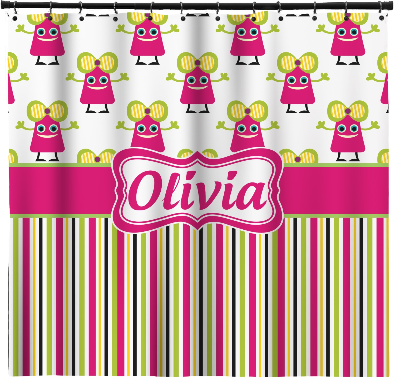 Pink Monsters Amp Stripes Extra Long Shower Curtain