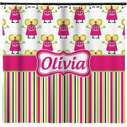 Pink Monsters & Stripes Shower Curtain (Personalized)