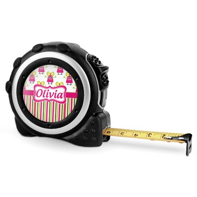 Pink Monsters & Stripes Tape Measure - 16 Ft (Personalized)