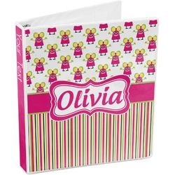 Pink Monsters & Stripes 3-Ring Binder (Personalized)