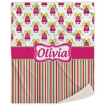 Pink Monsters & Stripes Sherpa Throw Blanket (Personalized)