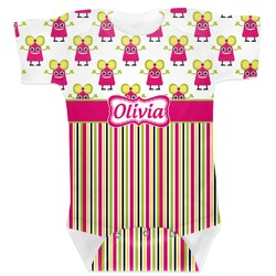 Pink Monsters & Stripes Baby Bodysuit (Personalized)