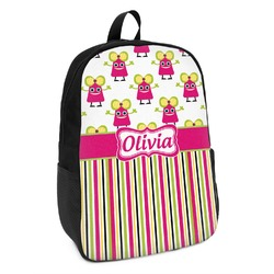 Pink Monsters & Stripes Kids Backpack (Personalized)