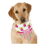 Pink Monsters & Stripes Dog Bandana Scarf w/ Name or Text