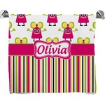 Pink Monsters & Stripes Full Print Bath Towel (Personalized)