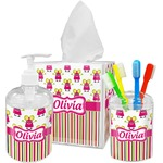 Pink Monsters & Stripes Bathroom Accessories Set (Personalized)