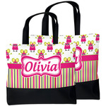 Pink Monsters & Stripes Beach Tote Bag (Personalized)
