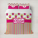 Pink Monsters & Stripes Duvet Covers (Personalized)