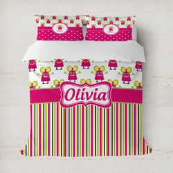 Pink Monsters & Stripes Duvet Cover (Personalized)