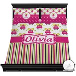 Pink Monsters & Stripes Duvet Cover Set (Personalized)