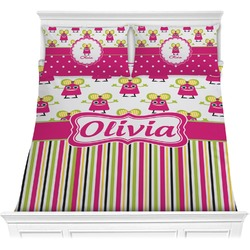 Pink Monsters & Stripes Comforter Set (Personalized)