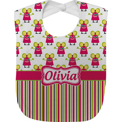 Pink Monsters & Stripes Baby Bib (Personalized)