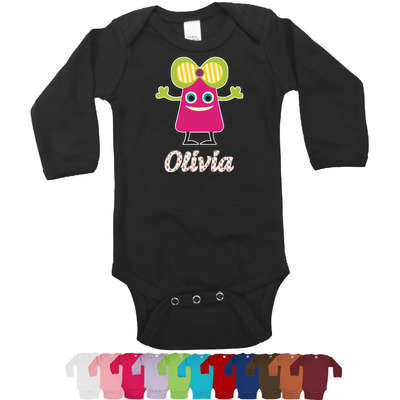 Pink Monsters & Stripes Long Sleeves Bodysuit - 12 Colors (Personalized)
