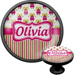 Pink Monsters & Stripes Cabinet Knob (Black) (Personalized)