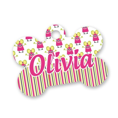 Pink Monsters & Stripes Bone Shaped Dog ID Tag (Personalized)