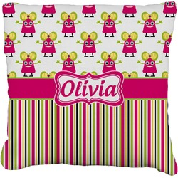 """Pink Monsters & Stripes Faux-Linen Throw Pillow 26"""" (Personalized)"""