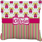 Pink Monsters & Stripes Faux-Linen Throw Pillow (Personalized)
