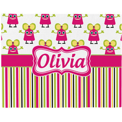 Pink Monsters & Stripes Placemat (Fabric) (Personalized)