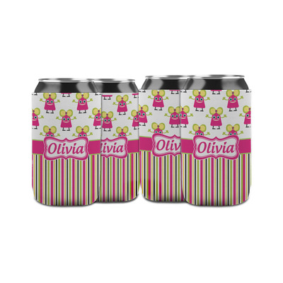 Pink Monsters & Stripes Can Sleeve (12 oz) (Personalized)