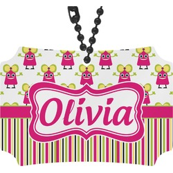 Pink Monsters & Stripes Rear View Mirror Ornament (Personalized)