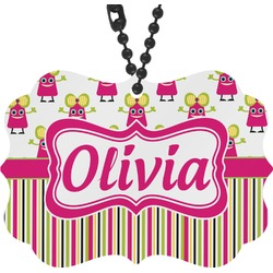 Pink Monsters & Stripes Rear View Mirror Decor (Personalized)