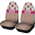 Pink Monsters & Stripes Car Seat Covers (Set of Two) (Personalized)