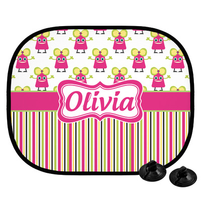 Pink Monsters & Stripes Car Side Window Sun Shade (Personalized)