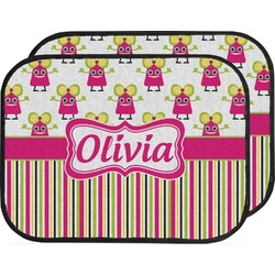 Pink Monsters & Stripes Car Floor Mats (Back Seat) (Personalized)