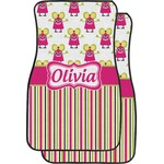 Pink Monsters & Stripes Car Floor Mats (Front Seat) (Personalized)