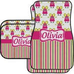 Pink Monsters & Stripes Car Floor Mats Set - 2 Front & 2 Back (Personalized)