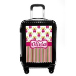 Pink Monsters & Stripes Carry On Hard Shell Suitcase (Personalized)
