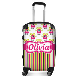 Pink Monsters & Stripes Suitcase (Personalized)