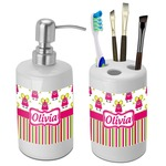 Pink Monsters & Stripes Bathroom Accessories Set (Ceramic) (Personalized)