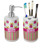 Pink Monsters & Stripes Ceramic Bathroom Accessories Set (Personalized)