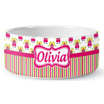 Pink Monsters & Stripes Ceramic Dog Bowl (Personalized)