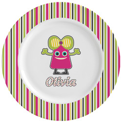 Pink Monsters & Stripes Ceramic Dinner Plates (Set of 4) (Personalized)
