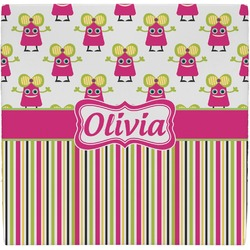 Pink Monsters & Stripes Ceramic Tile Hot Pad (Personalized)