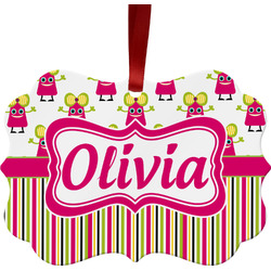 Pink Monsters & Stripes Ornament (Personalized)