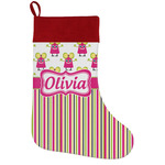 Pink Monsters & Stripes Holiday Stocking w/ Name or Text