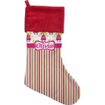 Pink Monsters & Stripes Christmas Stocking (Personalized)